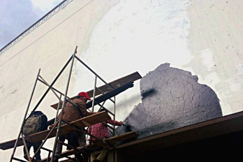 El pasado viernes los estudiantes de la Universidad Nacional volvieron a pintar al Che en el lugar donde lo homenajearon los hermanos Sanjuán en 1981. Foto: Lorena Cantor.