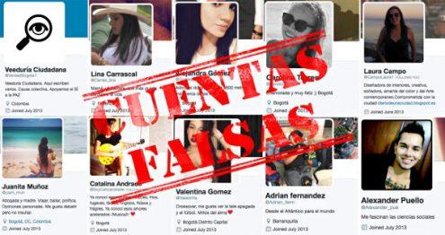Algunas de las cuentas falsas al servicio de la Alcaldía Mayor de Bogotá.